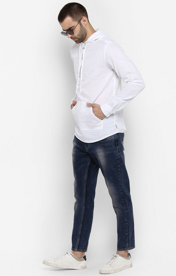 White Solid Slim Fit Hoodies