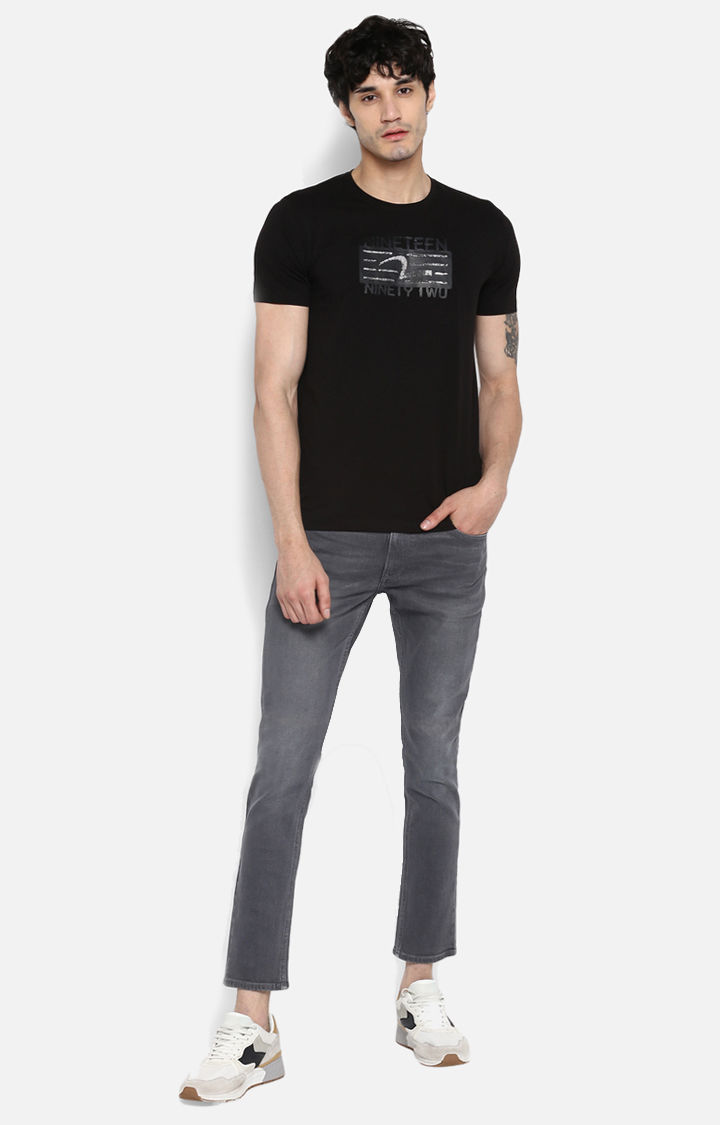 Jet Black Printed Slim Fit T-Shirts