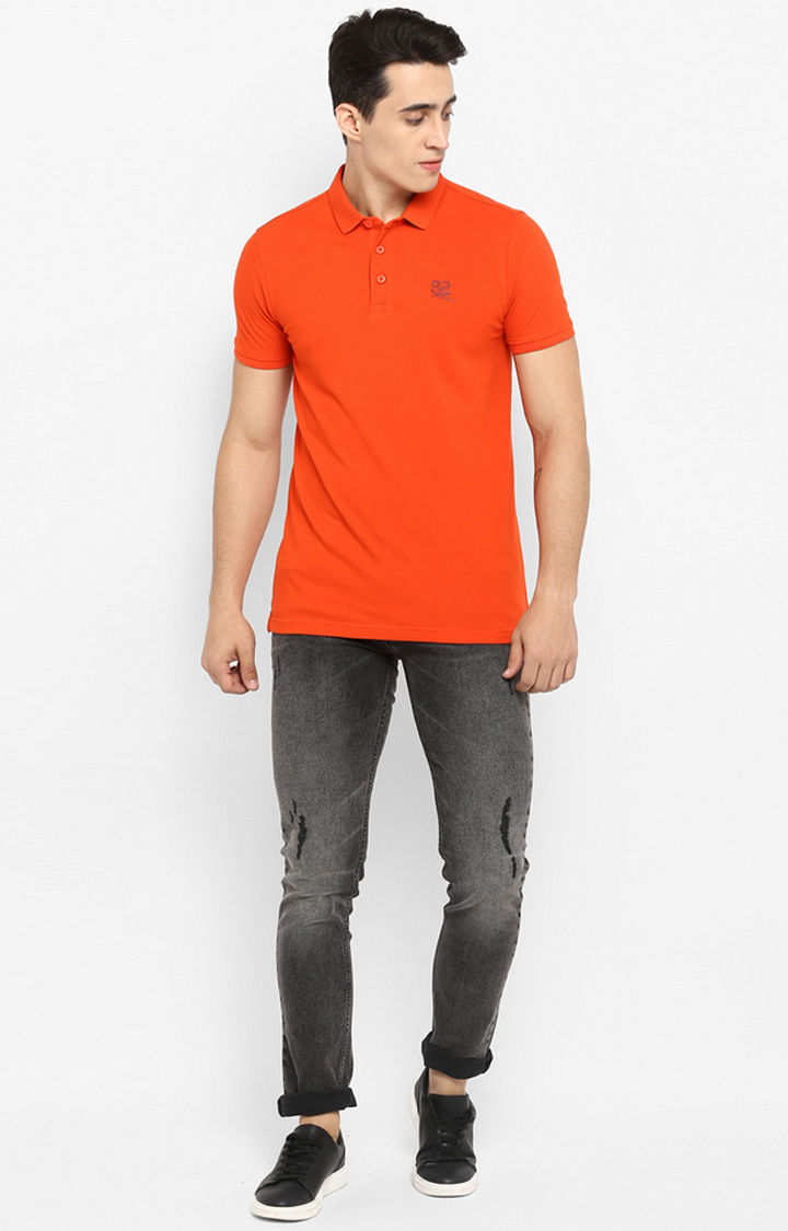 Orange Solid Slim Fit T-Shirts