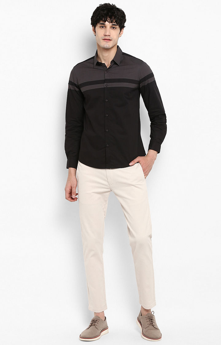 Black Striped Slim Fit Casual Shirts