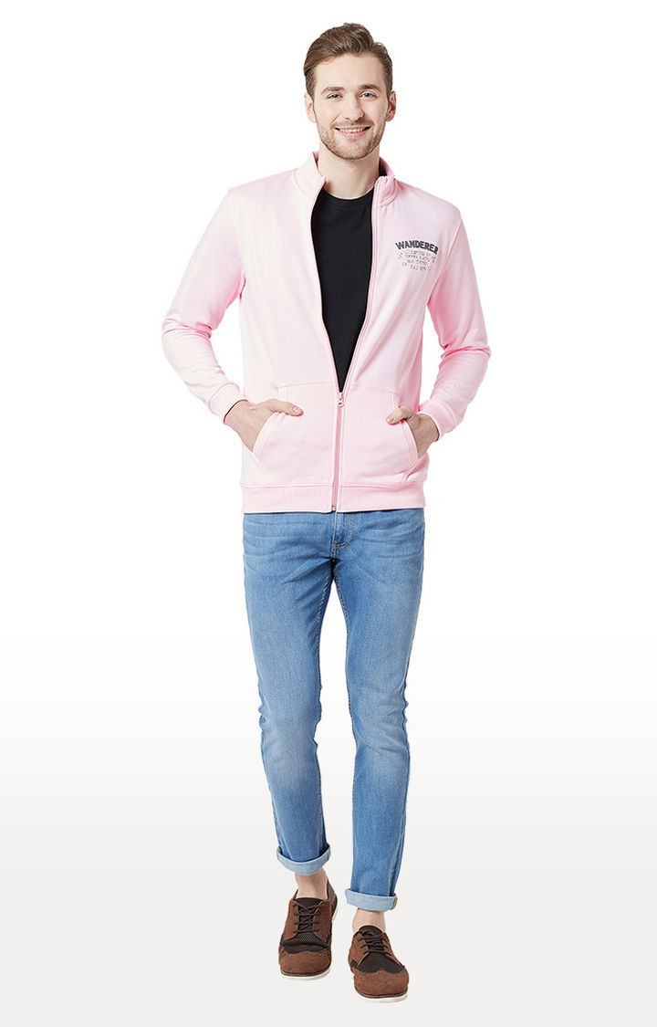 Pink Solid Slim Fit Front Open Jackets