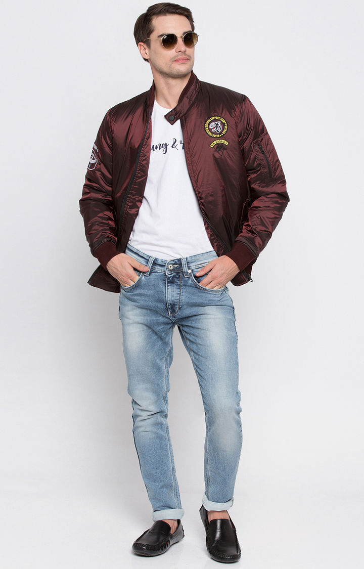 Wine Solid Regular Fit Bomber Jackets