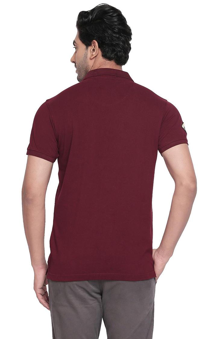 Wine Printed Slim Fit Polo T-Shirt