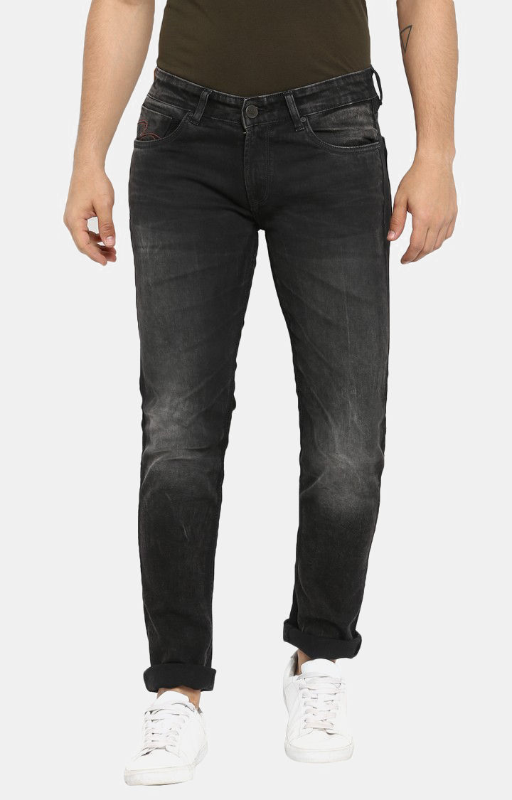 Carbon Black Solid Skinny Fit Jeans