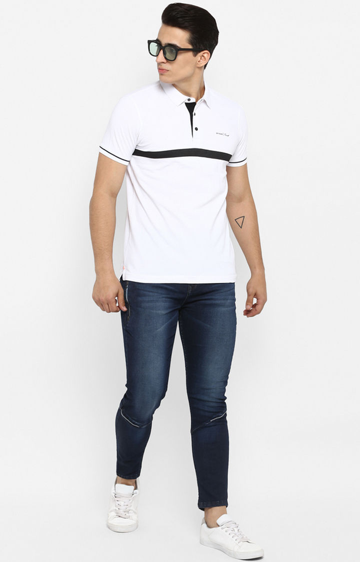 White Striped Slim Fit T-Shirts