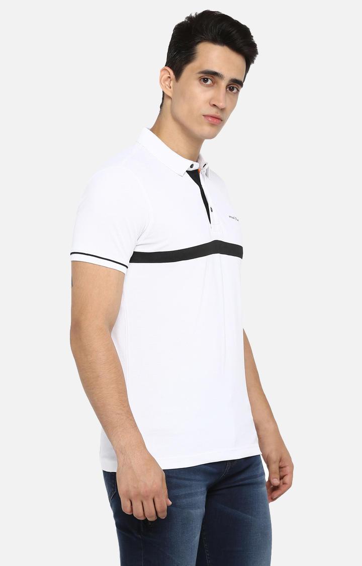 White Striped Slim Fit T-Shirts