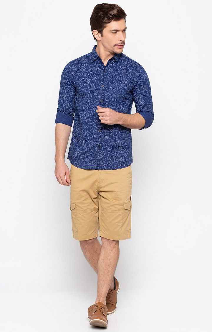 Indigo Blue Printed Slim Fit Casual Shirts