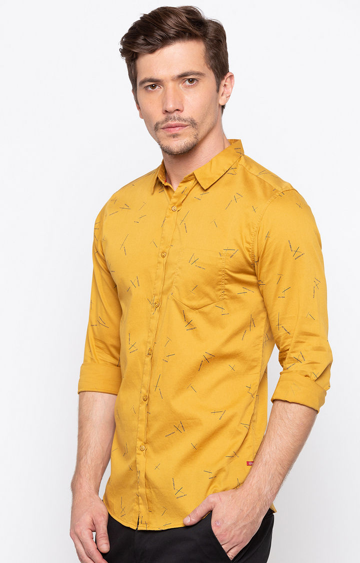 Mustard Printed Slim Fit Casual Shirts