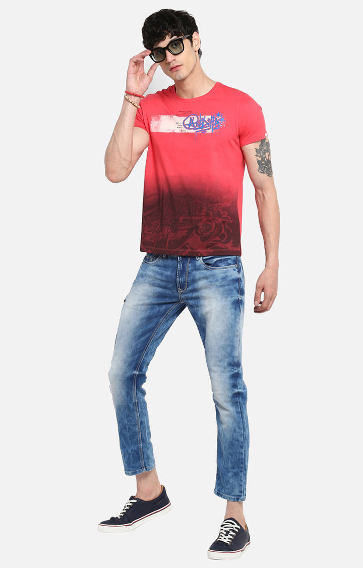 Coral Printed Slim Fit T-Shirts