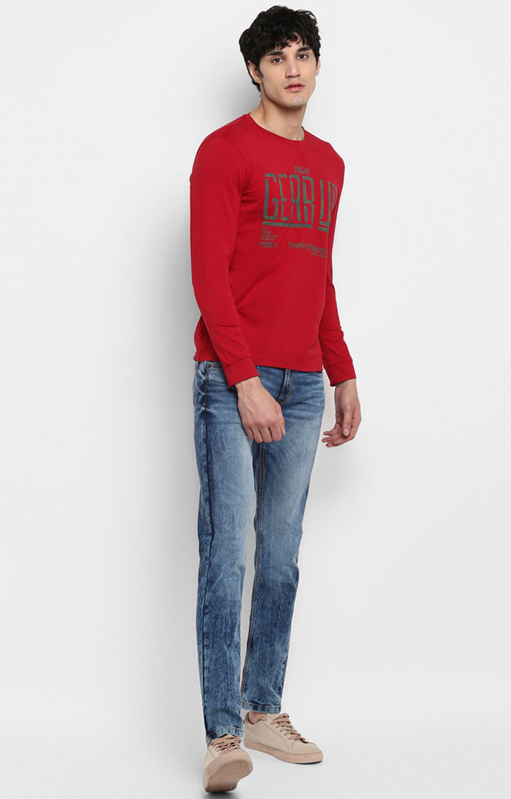 Red Printed Slim Fit T-Shirts