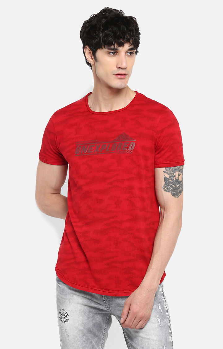 Deep Red Printed Slim Fit T-Shirts