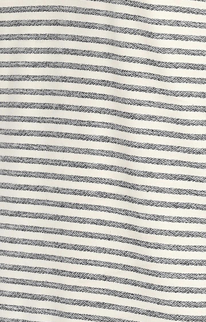 Ecru & Navy Striped Slim Fit T-Shirts