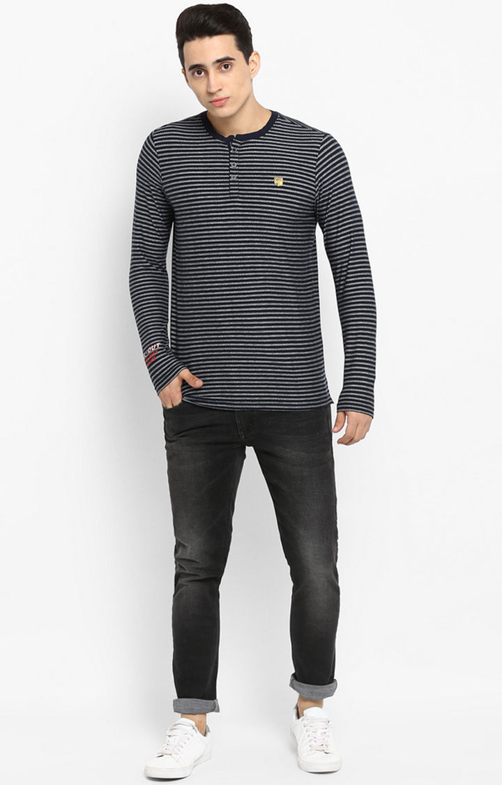 Navy Striped Slim Fit T-Shirts