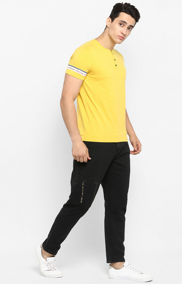 Mustard Solid Slim Fit T-Shirts