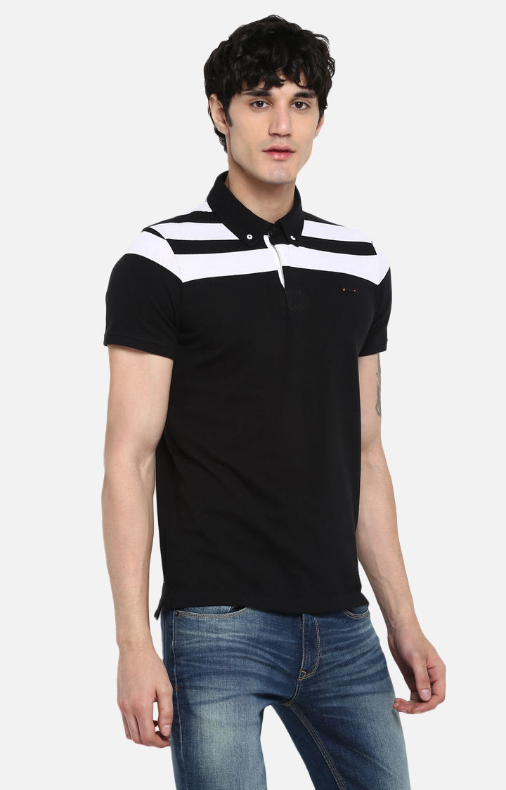 Black Solid Slim Fit T-Shirts