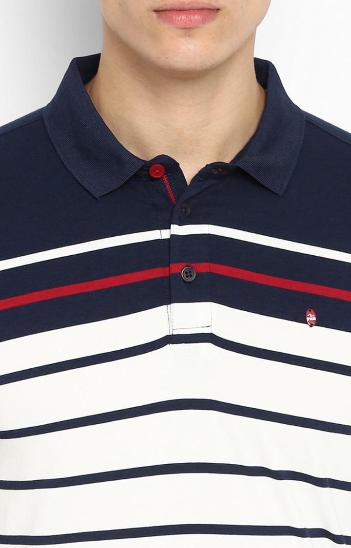 Navy & White Striped Slim Fit T-Shirts