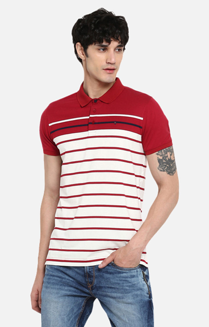 Wine & Red Striped Slim Fit T-Shirts