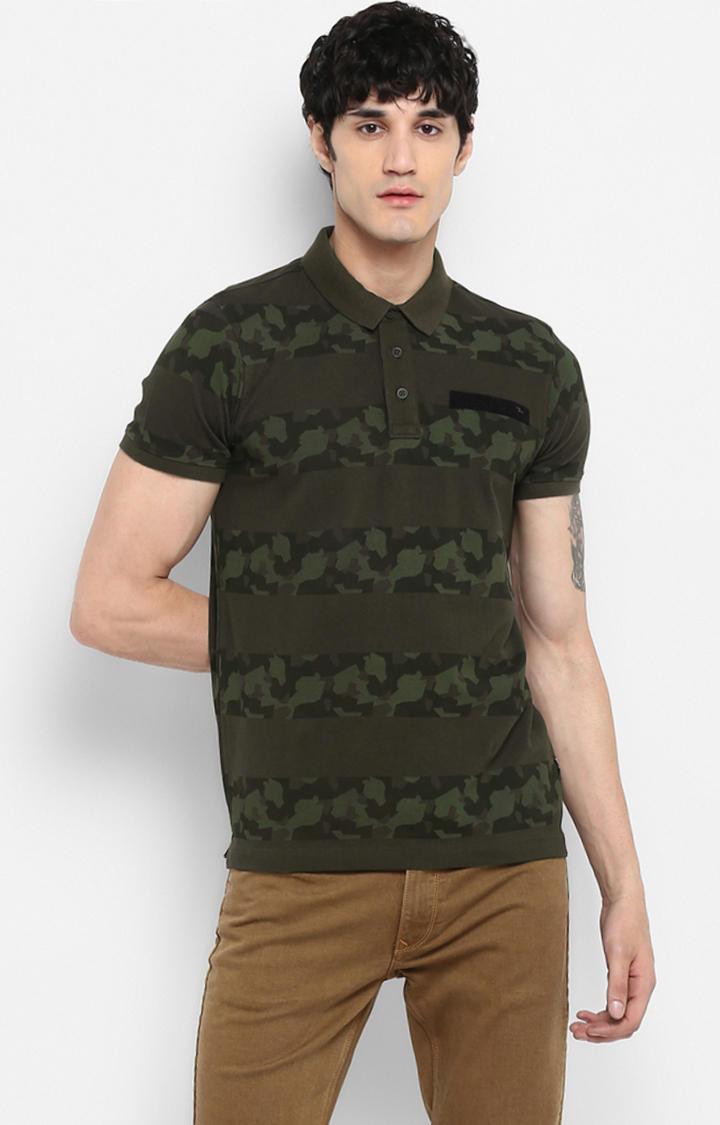 Olive Printed Slim Fit T-Shirts