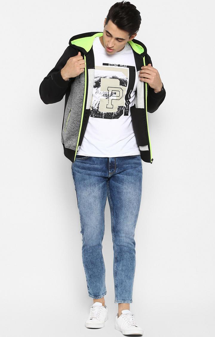 Grey & Black Melange Regular Fit Hoodies
