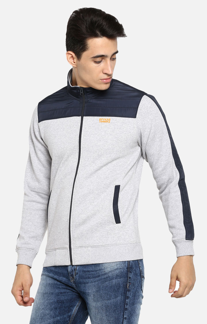 Grey Melange Regular Fit Sweatshirts