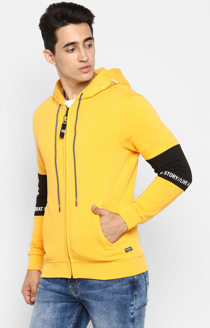 Yellow Solid Regular Fit Hoodies