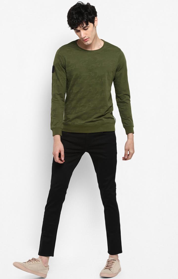 Olive Printed Slim Fit Sweatshirts