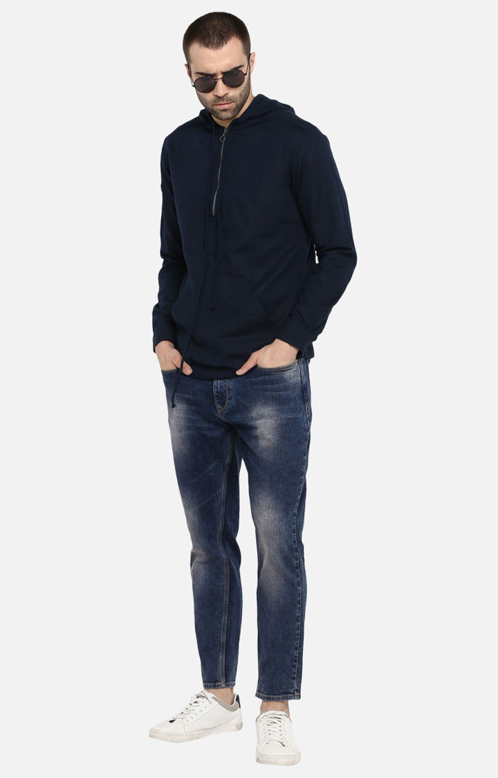 Navy Solid Slim Fit Hoodies