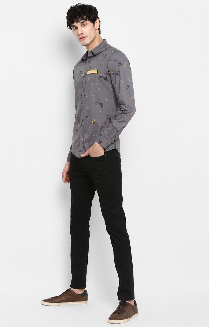 Charcoal Printed Slim Fit Casual Shirts