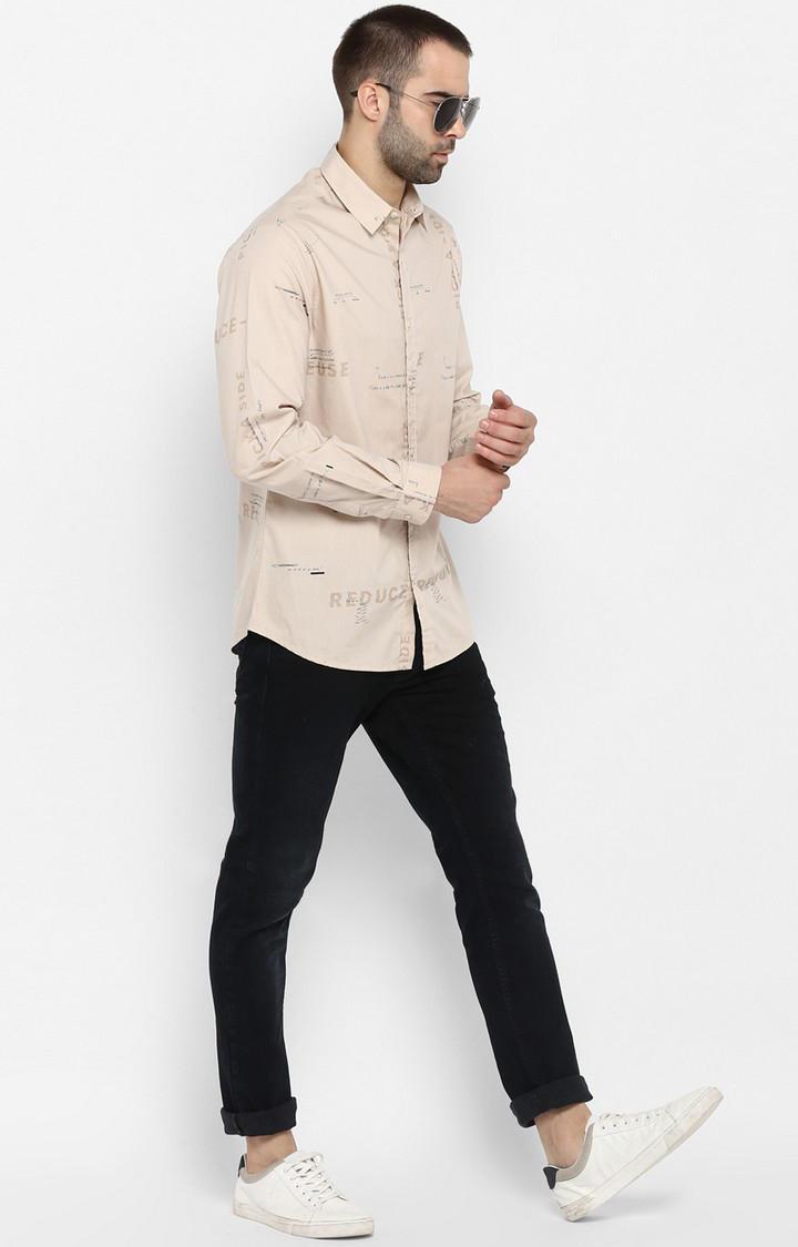 Beige Printed Slim Fit Casual Shirts