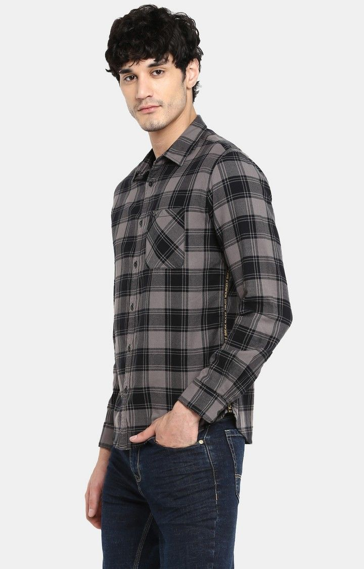 Grey Checked Slim Fit Casual Shirts