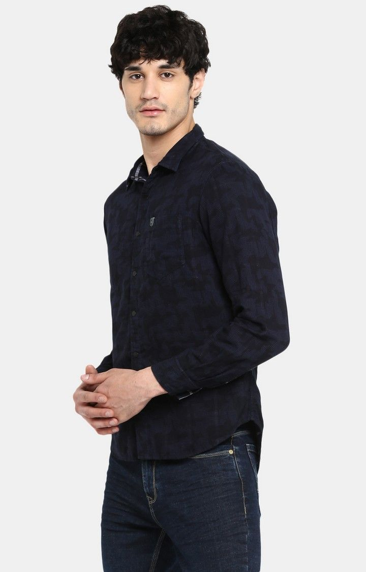 Navy Printed Slim Fit Casual Shirts
