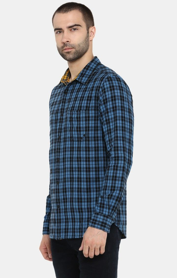 Blue & Yellow Checked Slim Fit Casual Shirts