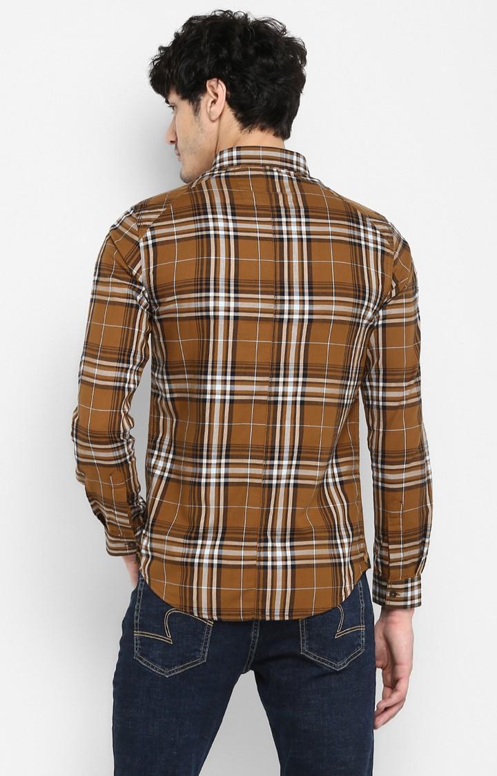 Khaki Checked Slim Fit Casual Shirts