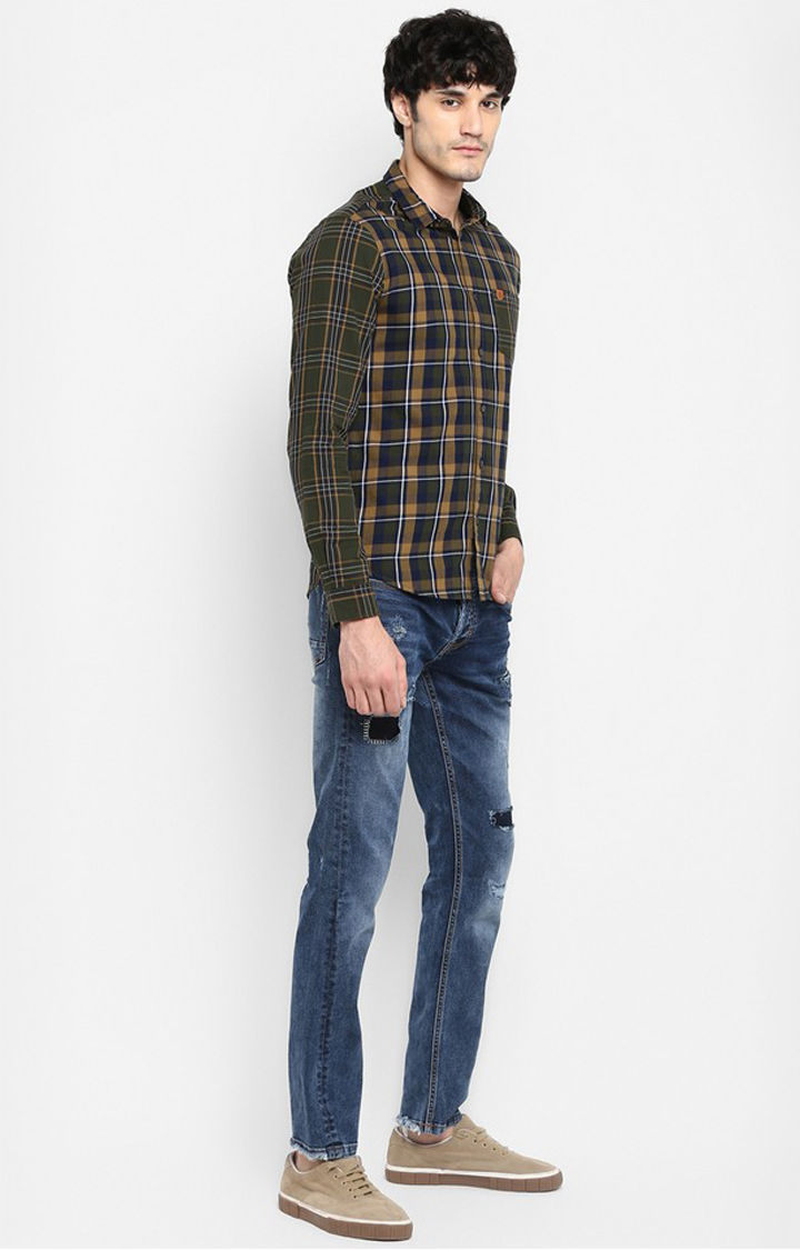 Olive Checked Slim Fit Casual Shirts