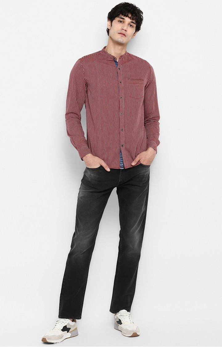 Rust Striped Slim Fit Casual Shirts
