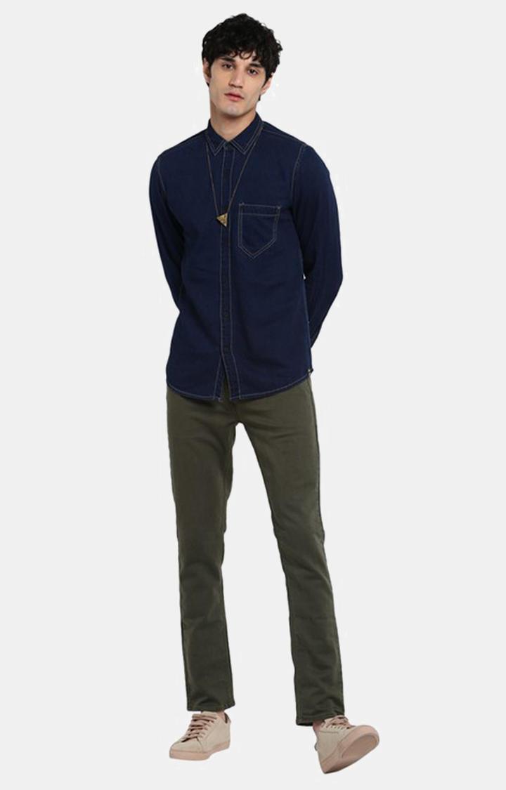 Dark Blue Solid Slim Fit Casual Shirts