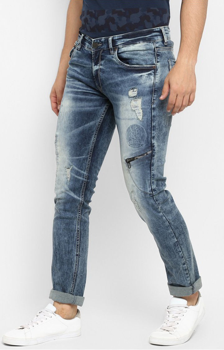 Vintage Blue Ripped Skinny Fit Jeans