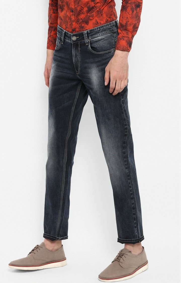 Dark Blue Solid Slim Thigh Narrow Leg Fit Jeans