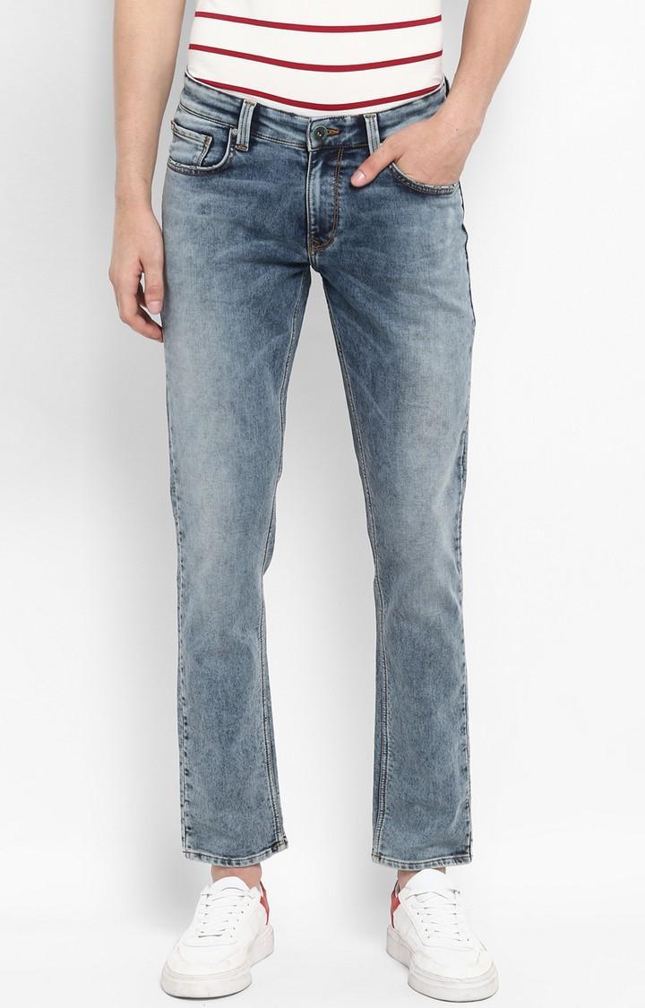 Vintage Blue Solid Skinny Fit Jeans