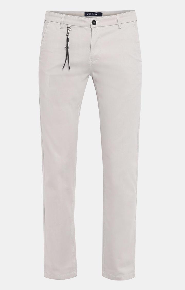 Grey Solid Slim Fit Chinos