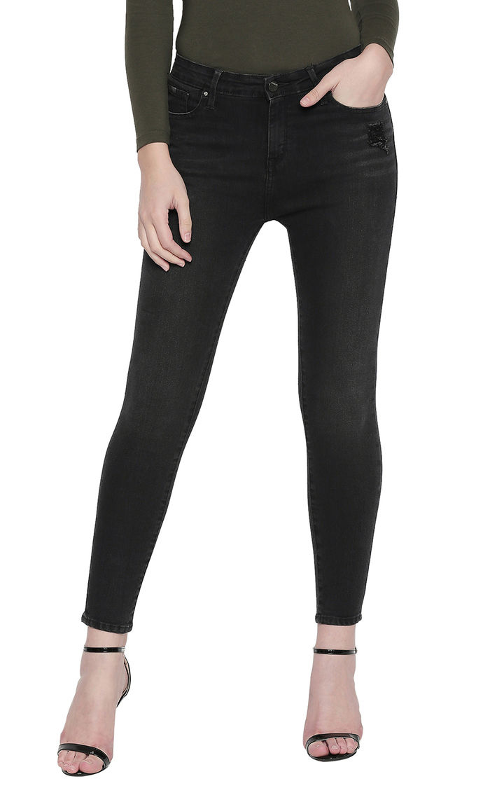 Carbon Black Solid Slim Fit Jeans