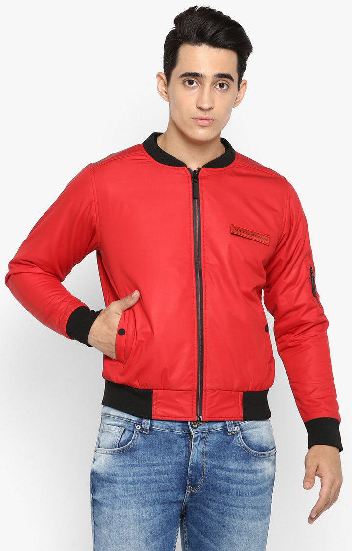 Red Solid Slim Fit Bomber Jackets