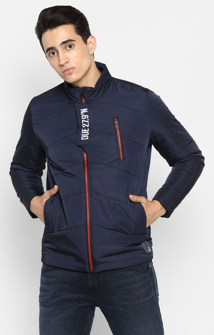 Navy Solid Slim Fit Bomber Jackets