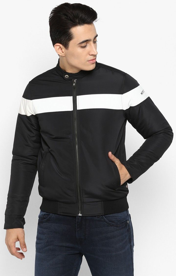 Black Solid Slim Fit Activewear Jackets