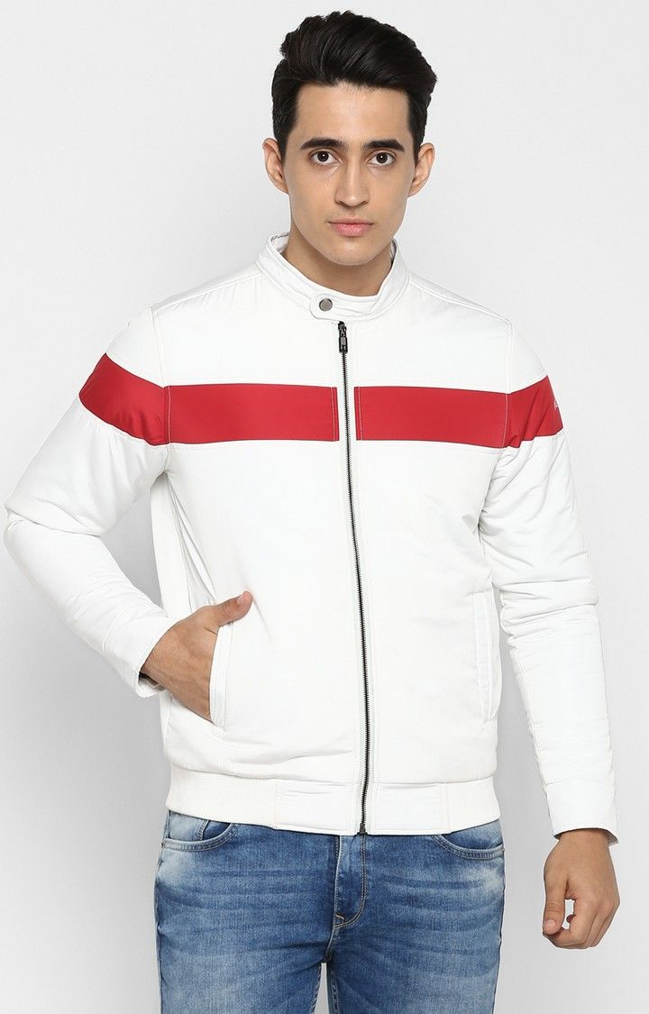 White Solid Slim Fit Activewear Jackets