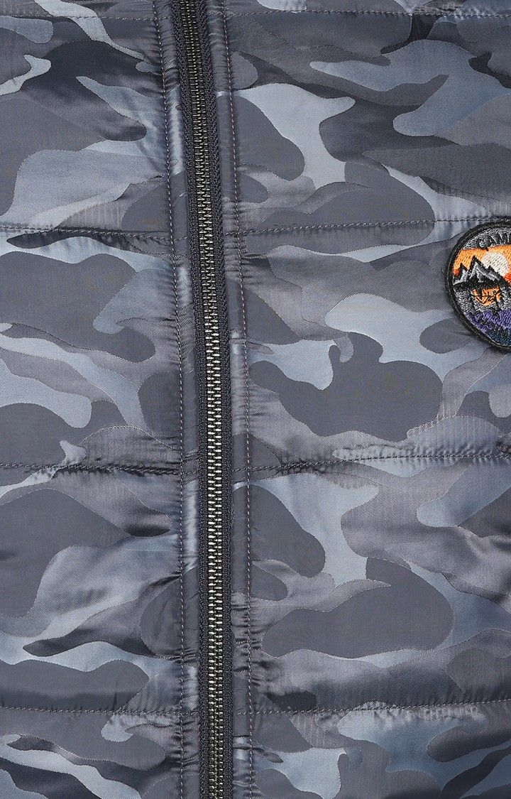 Grey Camouflage Slim Fit Bomber Jackets