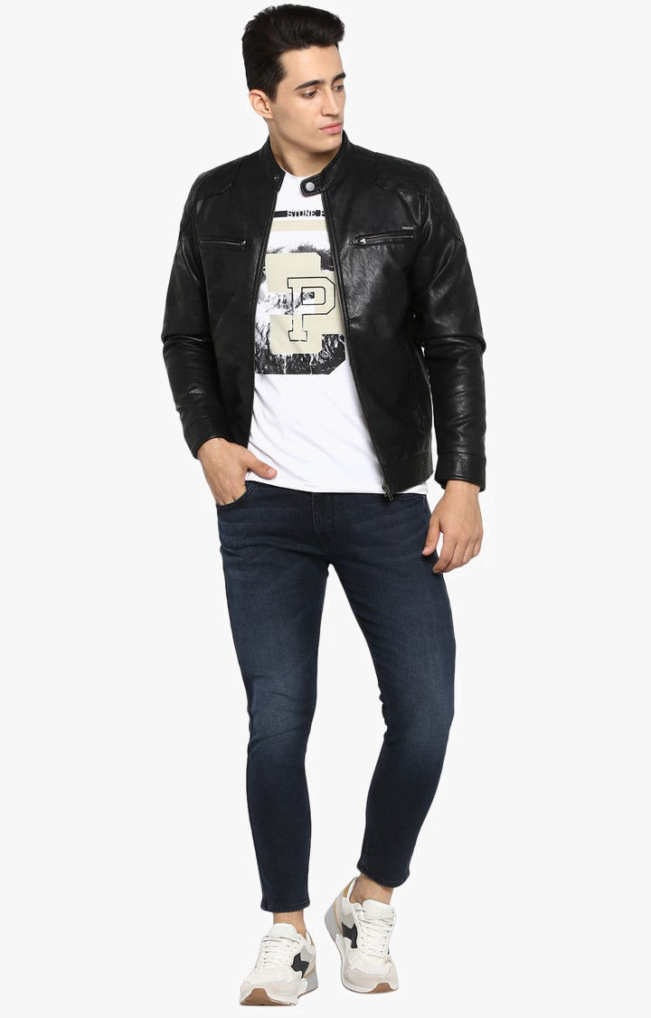 Black Printed Slim Fit Leather Jackets