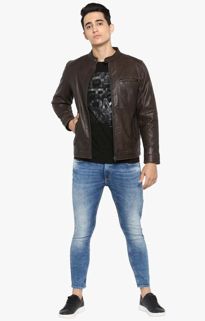 Brown Solid Slim Fit Leather Jackets