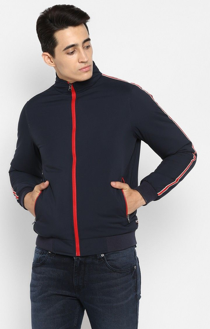 Navy Solid Slim Fit Activewear Jackets