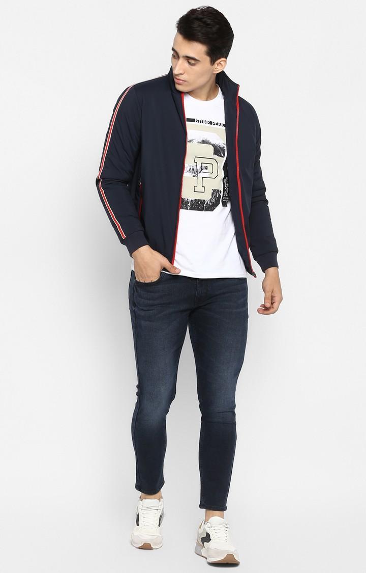 Navy Solid Slim Fit Activewear Jackets